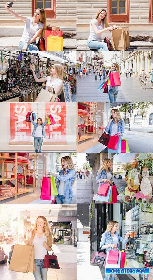 Девушка совершает покупки - Фотоклипарт