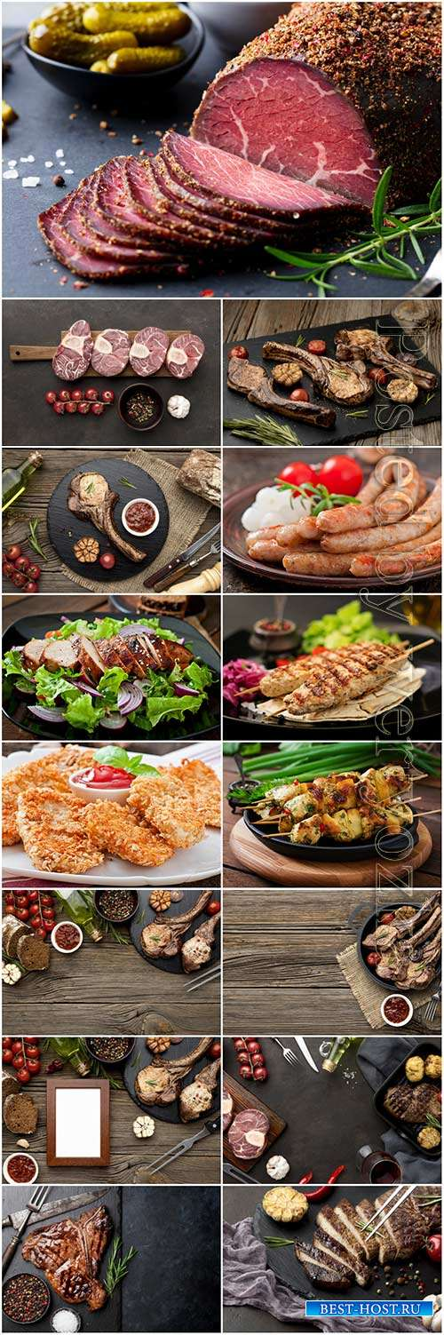 Delicious meat with sauce on wooden board stock photo set