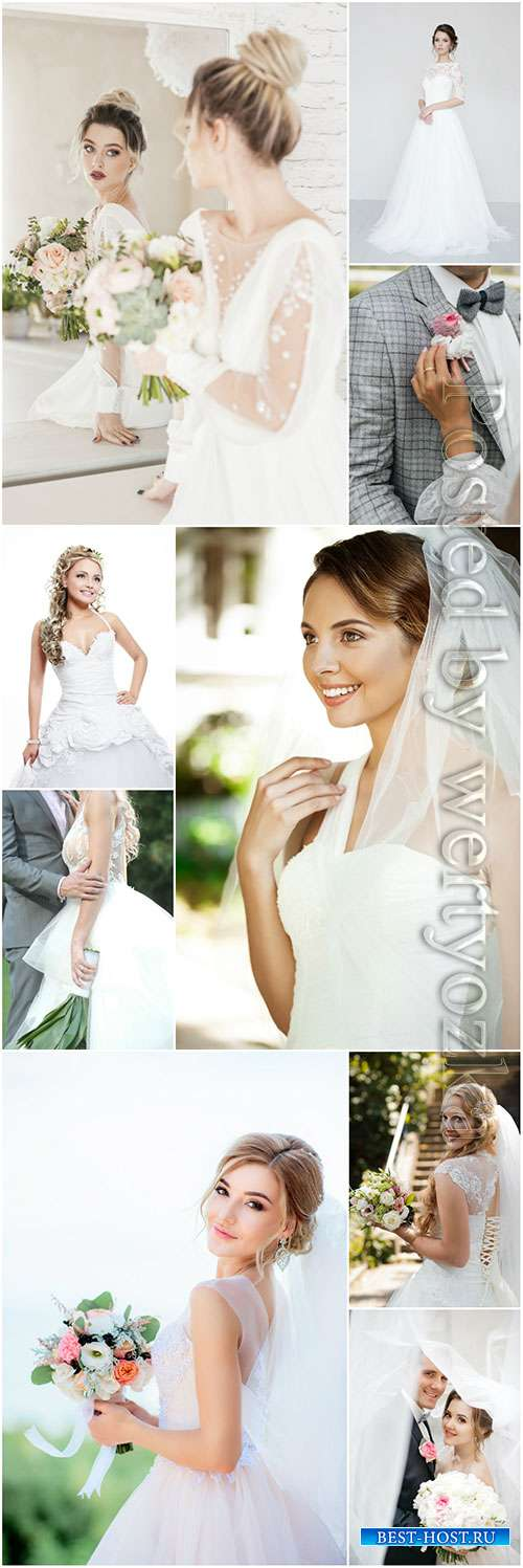 Beautiful bride and groom, wedding stock photo set