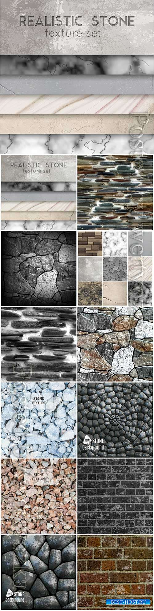 Realistic stone texture patterns collection