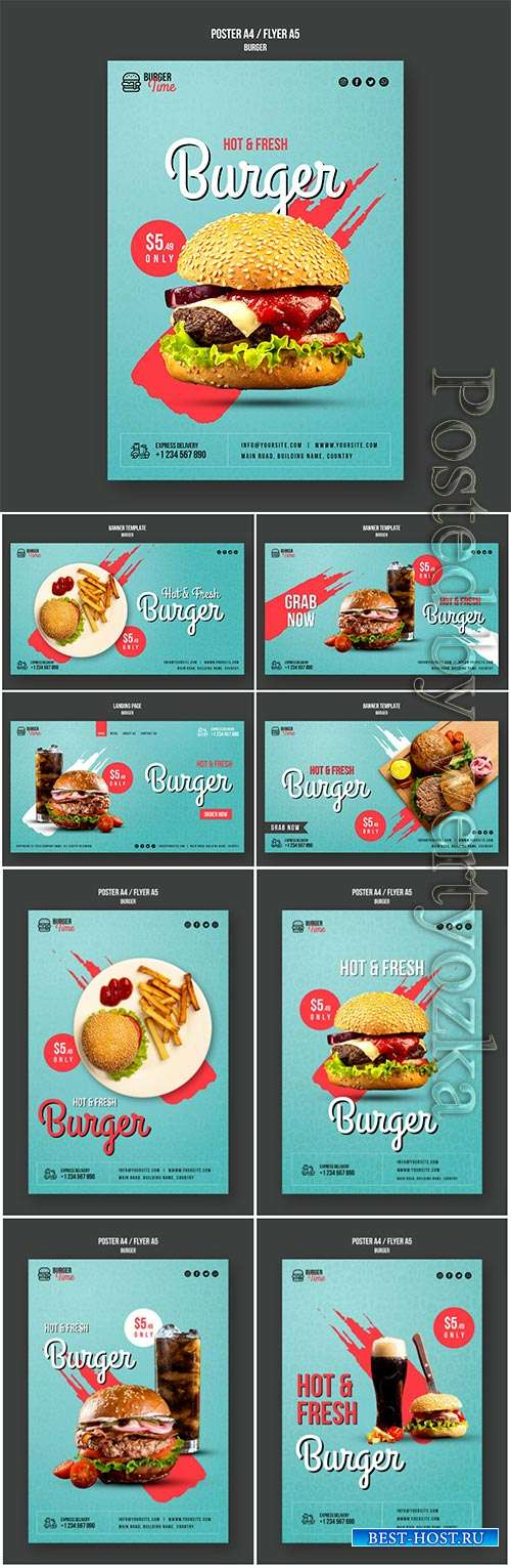 Burger concept flyer psd template