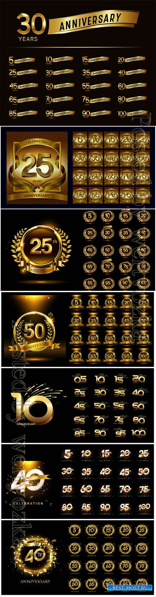 Luxury gold and anniversary number set logo