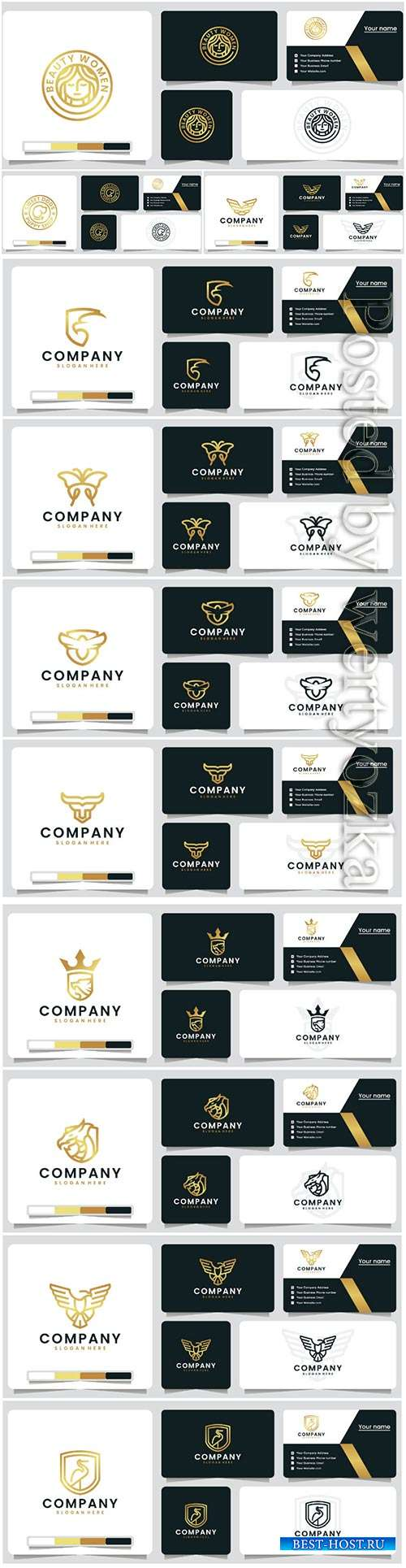 Golden color luxury logo vector design template