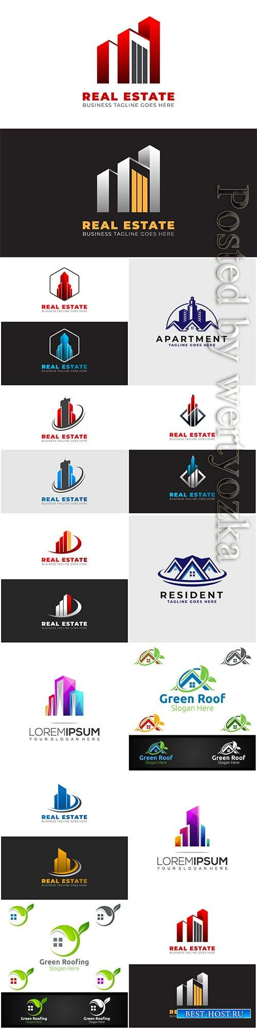 Estate logo template design with modern shapes